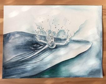 Original Watercolour Painting 11x15 'Visitation to the Underworld'