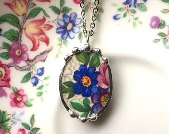 Vintage chintz china, porcelain necklace pendant, made from a broken plate, recycled china, broken china jewelry, upcycled china