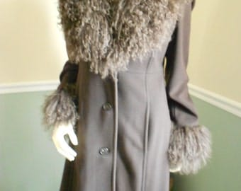 Mongolian Fur Collared Coat  With Matching Cuffs / Size 6
