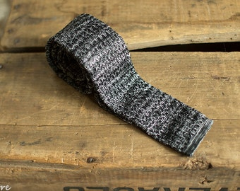 Black and off white Tie, Knit Tie, Skinny Knit Tie, Knit Tie, Knitted Tie, Men Skinny Knit Tie, Men Wedding, Gift for Him