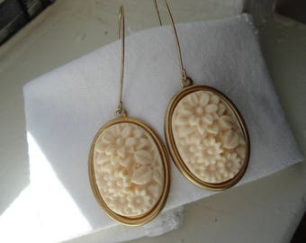 Vintage Carved Faux Ivory Celluloid Gold Earrings Floral