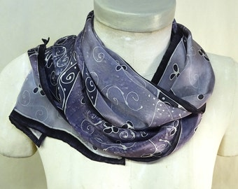 Lavender Purple Whirligigs - Hand Painted Silk Scarf - medium, 11x60 inches - wearable art