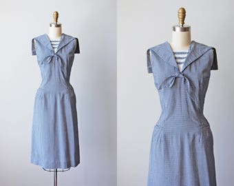 1950s Sailor Dress - Vintage 50s Navy Blue Gingham Cotton Blend Wiggle Dress M L - Port Heuneme Dress