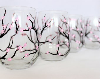 Cherry blossoms, hand painted stemless wine glasses, painted cherry blossom glassware, set of 4