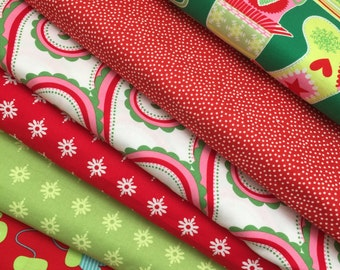 Fat Quarters Christmas Holiday Fabrics Stockings Quilts Michael Miller and Riley Blake Mix  Stockings Dresses and Home Decor Value Price