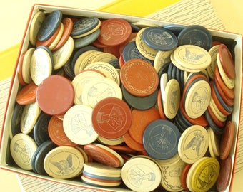 60 vintage clay poker chips, grab bag of 5 dozen in cream, dark red and navy blue, vintage game chips