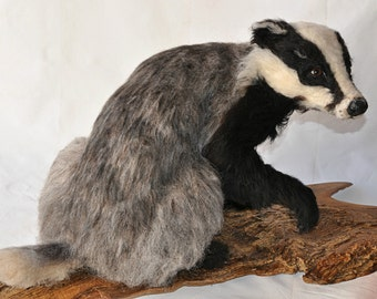 Needle Felted Animal. Needle Felted badger . Needle felted soft sculpture. Needle felt by Daria Lvovsky. Ready to ship