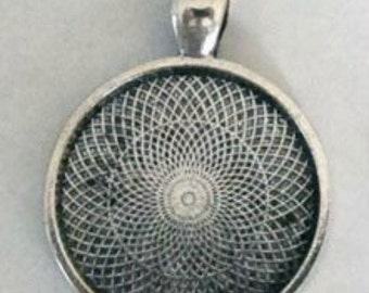 Free EZ Photo Jewelry Software Download Included! 30 Antique Silver 1 Inch Circle Round Photo Pendant Trays