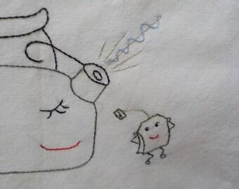 Singing tea kettle and tea bag tea towel-hand embroidered
