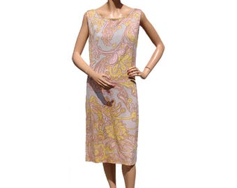 Vintage 1960s Psychedelic Print Dress - Shift Style - M