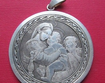 On Sale Antique French La Vierge A La Chaise Large Religious Medal Signed B. Wicker Virgin Mary