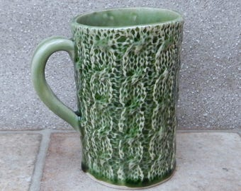 Knitted texture mug coffee tea cup stoneware handmade pottery ceramic cable knitting textured