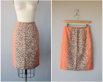 Vintage 1960s Skirt | Lace Skirt | 60s Skirt | Knee Length Pencil Skirt | Chiffon Skirt - small