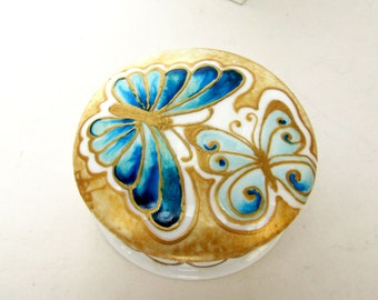 Jewelry Vanity Box Blue Butterfly Hand Painted Trinket Box Porcelain Keepsake Box