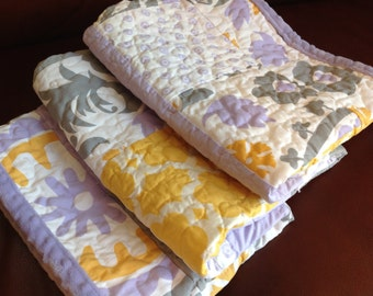 Baby Quilt Girl Lavender Gray Yellow Girl Quilt/READ,Y TO SHIP/Floral Moroccan Lattice Chevron Baby Quilt