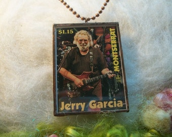 Jerry Garcia Necklace Jerry Garcia Stamp Jerry Garcia Montserrat Collectors Postage Stamp Grateful Dead Jewelry Grateful Dead Necklace