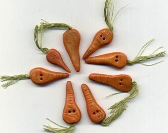 A BUNCH of Handmade CARROT BUTTONS