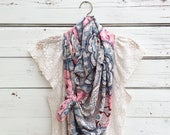 Paisley Scarf in Pink, Navy Blue and Cream, Long Scarf , Floral Scarf, Gift for Mom, Mothers Day Gift, Spring Scarf, Summer Scarf