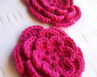 Flower crochet motif 3 inch bamboo bright pink set of 2 hot pink