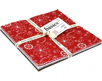 NEW!  KimberBell Basics Maywood Studio Black, White, Red 10 Inch Squares 42 Pieces Pre-Cut Cotton Fabric Layer Cake