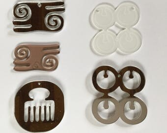 Adinkra symbols in lucite - Large pendants Duafe, Aya, Kwatakye Atiko, Me Ware Wo