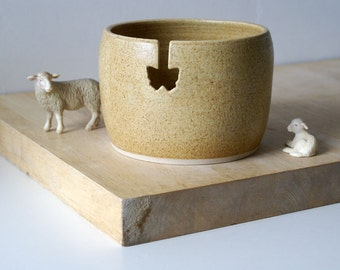 Ready to Ship - The butterfly yarn bowl in natural brown