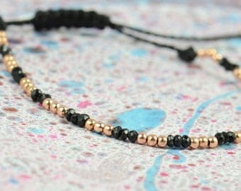 Rose Gold  and black spinel bracelet