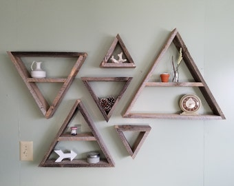 Set Of 6 Barnwood Shelves Barnwood Decor Barn Wood Shelf Triangle Shelves