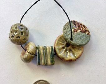 Artisan, handmade, One of a kind porcelain clay beads