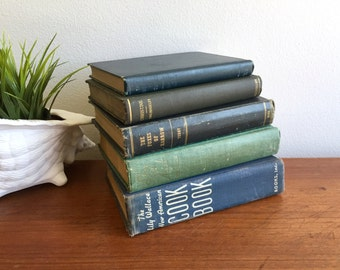 Set of 5 Blue Books / Collection of Five Beat Up Green + Blue Old Books / Antique Book Bundle / Old American Books / Instant Library