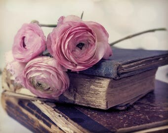 Love and Knowledge, I love books, worn pages, pink, ranunculus,  Fine Art Photograph - 8x10