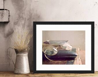 A Closer Look, old glasses, worn book, rough edges, I love books, Fine Art Photograph, 8x10