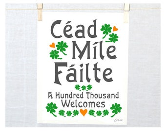Cead Mile Failte, A hundred thousand welcomes, Irish Welcome sign, Céad Míle Fáilte, St Patricks Day, St Patrick's day, Door sign, shamrock