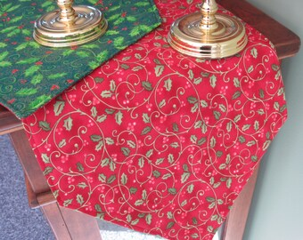 Red and Green Holly Christmas Table Runner 54 Inch Reversible Green Holly Table Runner Green and Red Table runner Christmas Table Decor