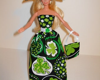 Handmade Barbie clothes - Beautiful St. Patrick's gown with hat and bag 4 barbie doll