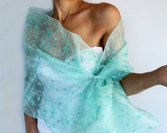 Mint Green Beaded Organza Stole Scarf, Teal Acqua Shoulder Wrap, Hand Free Evening Dress Cover, Mother of the Bride, Bridal Accessory