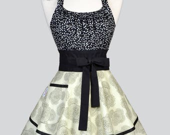 Womens Flirty Chic Apron / Amy Butler Bloom Gray with Polka Dots Ruffled Vintage Style Pin Up Kitchen Apron with Pocket