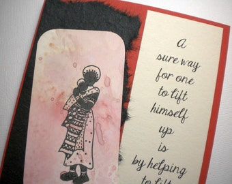 LIFTING SPIRIT ~ Mixed media collage greeting card with bookmark, quote by Booker T. Washington