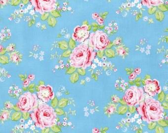 Blue Rambling Rose  PWTW129-BLU Cotton Fabric by Tanya Whelan Free Spirit