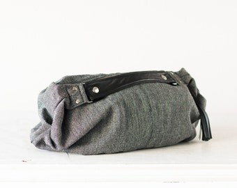 Hobo slouchy bag in grey wool and black leather, slouch shoulder purse everyday bag - Mini Kallia bag