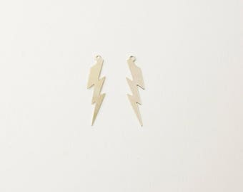 One Sterling Silver 7.5x28mm Lightning Bolt Charm, Made in USA