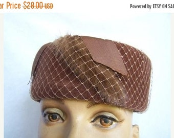 SALE Vintage Brown Pillbox Hat with Netting and Fur Trim Detail