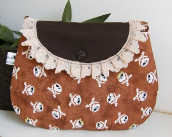 Brown pirates  purse, make up bag , crafts  , handmade,Claudia Candeias, ready to ship