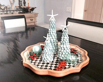 "Beach Christmas Trees - Natural Shells and Starfish - Choose 9"", 12"" or 15"" or Set of 3 - coastal Christmas"