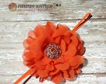 30% OFF SPRING SALE Orange Flower Headband, Lg Petal, Newborn Headband, Baby Headband, Infant Headband, Baby Shower Gift, Flower Girl, Hair