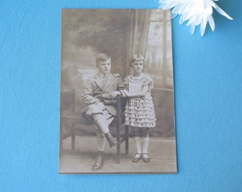 Cutest 1920s Photograph Brother And Sister Portrait Photo Sweet Clothing Bloomers Little Suit Sepia Toned Postcard Size