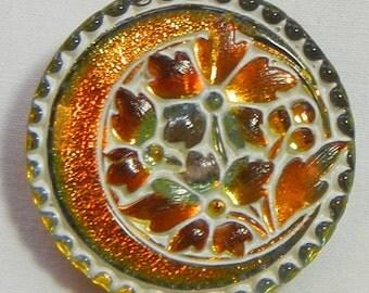 Flowered Crescent Czech Glass Button