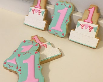 Baby's 1st Birthday decorated cookies - 1 dozen