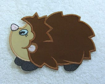 Hedge Hog Fabric Embroidered Iron on Applique Patch Ready to Ship