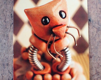 Red Robot Cat Sculpture Art Postcard